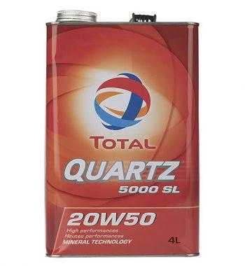 روغن موتور خودرو توتال مدل Quartz 5000 SL پنج لیتری 20W-50